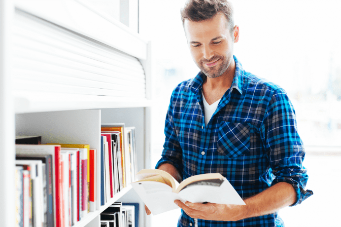 Get Rid of Books, Man Looking at Book