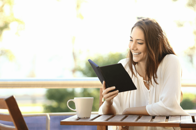 Get Rid of Books, Woman Reading Electronic Book Outdoors