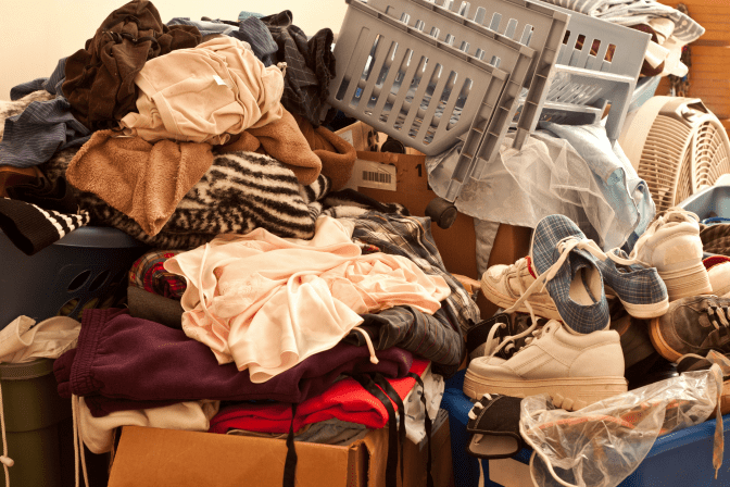How and When to Say No to Hoarding Jobs Piles of Clothes