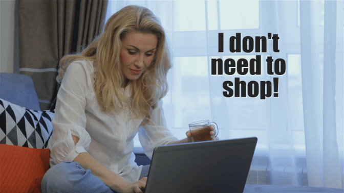 I Didn't Go Shopping for One Year, Woman on Computer, I Don't Need to Shop